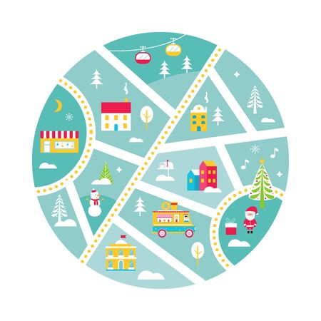 Winter Holidays Town Map with Snow, Santa, Fair, Food Truck and Cable Cars. Vector Illustration