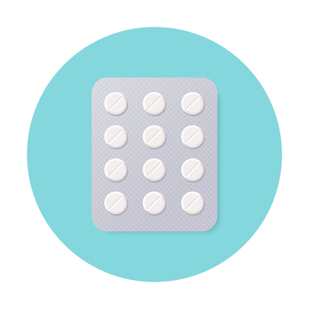 prescription drugs: Pills Blister Pack with White Round Pills. Illustration