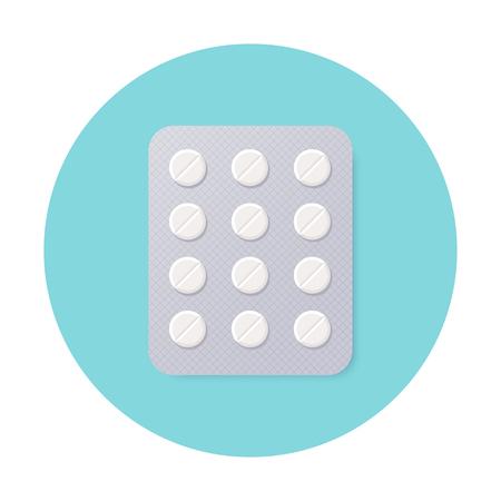 Pills Blister Pack with White Round Pills. Illustration