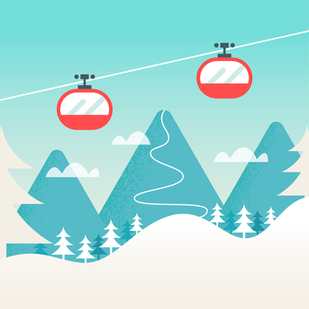 ski resort: Cable Cars and Snowy Mountain Landscape. Ski Winter Resort, Hills and Slopes Background. Illustration