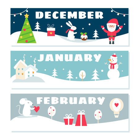 Winter Months Calendar Flashcards Set. Nature, Holidays and Symbols Illustrations.