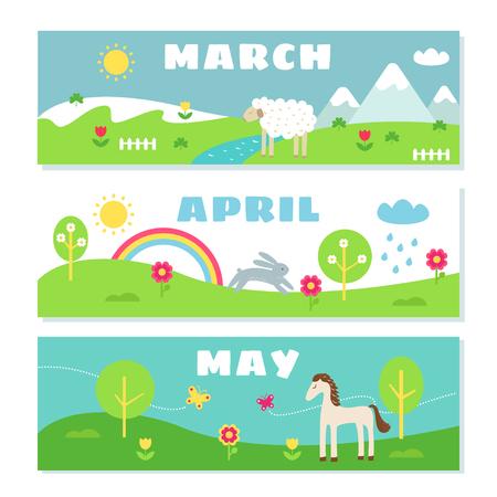 niño escuela: Meses de primavera Calendario Flashcards Set. Naturaleza, Vacaciones y símbolos ilustraciones.