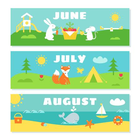 Meses de verano Calendario Conjunto tarjetas de vocabulario. Naturaleza, Vacaciones y símbolos Ilustraciones