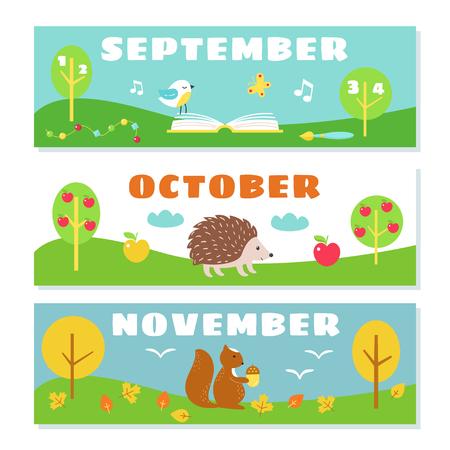 meses del año: Meses de otoño Calendario Conjunto tarjetas de vocabulario. Naturaleza y símbolos ilustraciones.