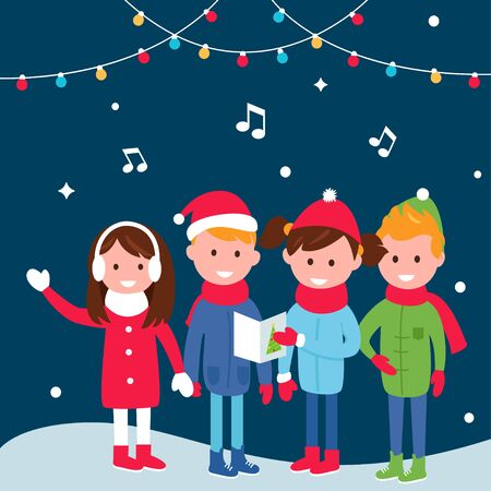 carols: Children Wearing Warm Winter Coats Sing Carols on Christmas Eve.