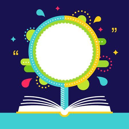 Open Book et Arbre avec Espace pour la citation. Citation Vecteur Disposition ou modèle. Reading Concept Vecteurs