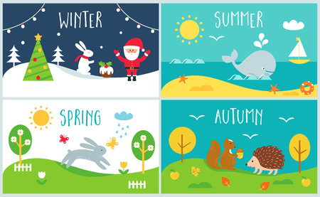 Seasons of the Year Cards. Winter, Spring, Summer, Autumn