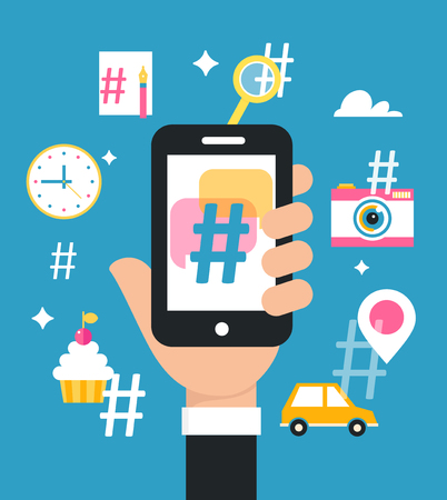 Holding Smart Phone with Hashtag Sign. Social Media Marketing Strategy Concept