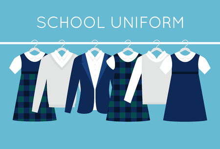 School or College Uniforms on Hangers in Line. Kids Clothes Vector Set