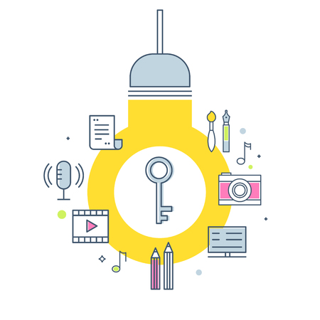 Intellectual Property Concept Illustration. Light Bulb, Key and Creative Work Products Icons. Vector Outline Design 일러스트