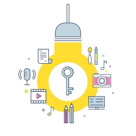 Intellectuele eigendom Concept illustratie. Gloeilamp, sleutel en creatieve werkproducten pictogrammen. Vector overzichtsontwerp Vector Illustratie