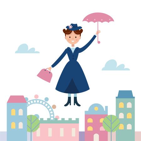 Baby Sitter Mary Poppins Fliegen über die Stadt. Cartoon Vektor-Illustration