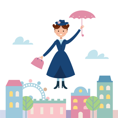Baby Sitter Mary Poppins Flying Over the Town. Cartoon Vector Illustration