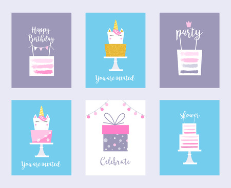 Cakes and Unicorns. Birthday Cards, Shower Invitations. Vector Design