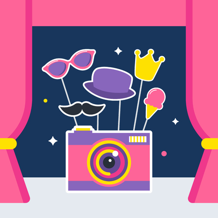 stage props: Photo Camera with Props and Booth Curtains