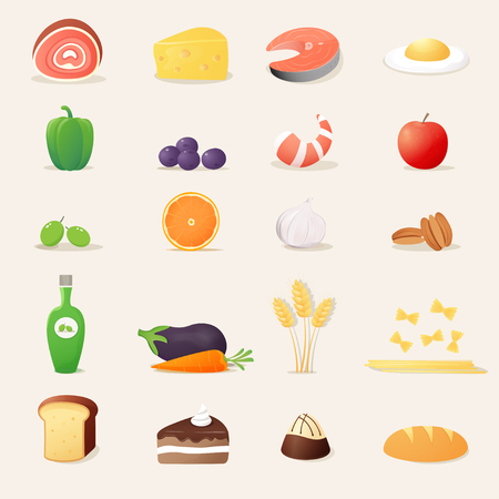 Food Items Realistic Vector Illustrations. Icons Set