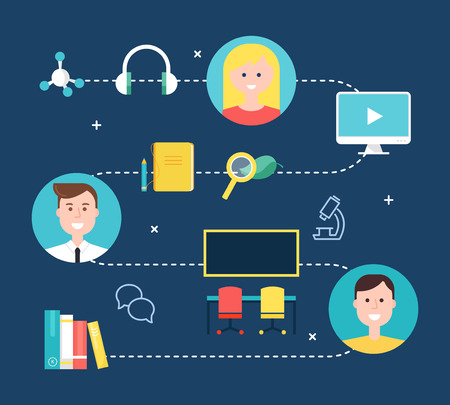 Blended Learning Education Concept Illustration. Vector Design