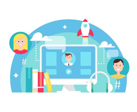 Blended Learning and E-learning Education Concept Illustration. Flat Vector Design Illustration