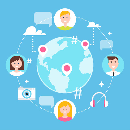 Social Network, Followers and Social Media Marketing Illustration