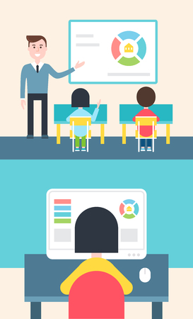Blended learning en Flipped Classroom Model Illustration