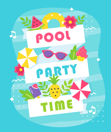 Summer Pool or Beach Party Poster or Invitation Card. Vettoriali