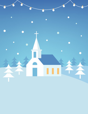 Christian Church Building and Snowy Hills Christmas Card or Poster. Flat Vector Design