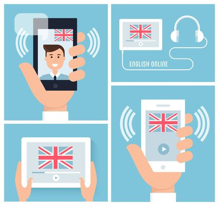 live stream listening: Learning English with Mobile Technology and Device. Teaching English Online. Vector Illustration Stock Photo