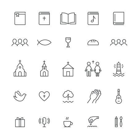 Kerk en christelijke gemeenschap Plattegrond iconen. Vector Set