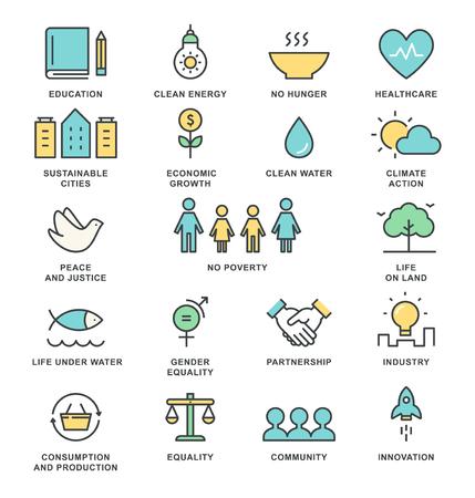Zrównoważonego Rozwoju Cele i Koncepcja Zrównoważonego Życia Koncepcja Ikonki Linii Wektorowych Ilustracje wektorowe