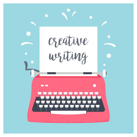 Retro Styled Typewriter with Sheet of Paper and Creative Writing Sign