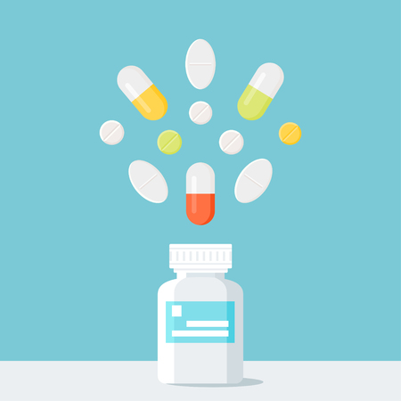 Medicine Pills Bottle with Pills over It. Pharmacy and Treatment Concept Vector Illustration. Flat Style