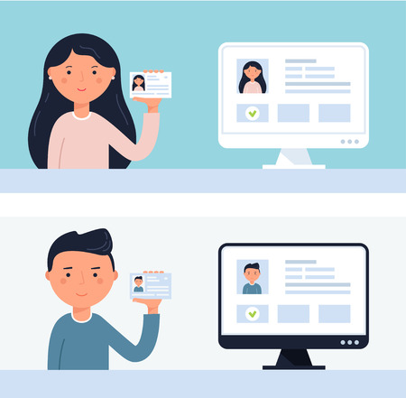 People Holding up ID Cards. Illustration