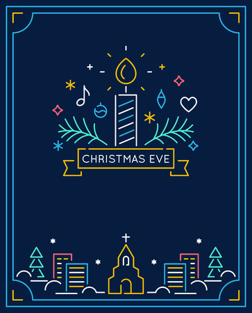 Candle and Ornaments, Winter Town and Church Outline. Christmas Eve Candlelight Service Invitation. Line Art Vector Design. Illustration