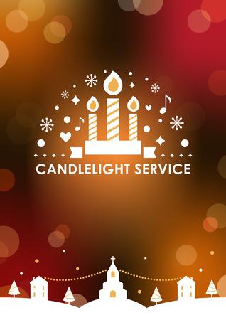 Plantilla de tarjeta de invitación de servicio de luz de las velas de Nochebuena. Fondo borroso de Bokeh. Diseño vectorial Ilustración de vector