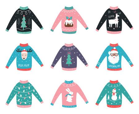 크리스마스 디자인 일러스트와 함께 귀여운 스웨터입니다.