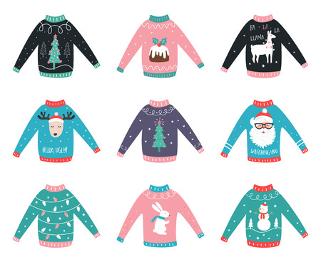 Cute sweaters with christmas design illustration. Stock Illustratie