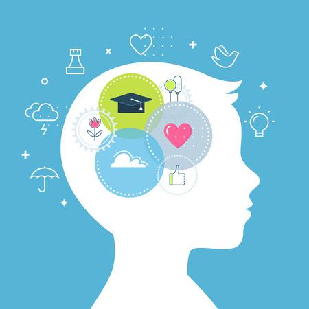 Emotionale Intelligenz, Gefühl und Gefühls-Konzept-Vektor-Illustration Standard-Bild