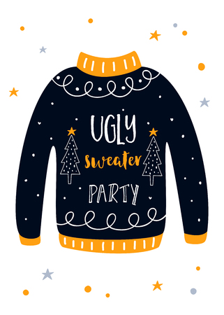 Ugly Sweater Christmas Party Invitation Card. Vector Template Vectores