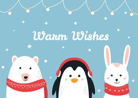 Cute Woodland Animals. Warm Wishes Christmas and Winter Holiday Vector Card Vettoriali