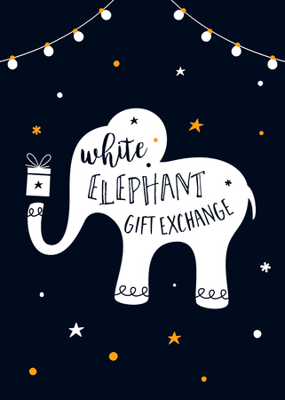 White Elephant Gift Exchange Game Vector Illustration.