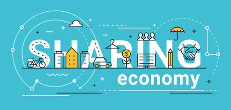 Sharing economy line vector concept illustration flat design.