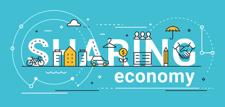 Sharing economy line vector concept illustration flat design.