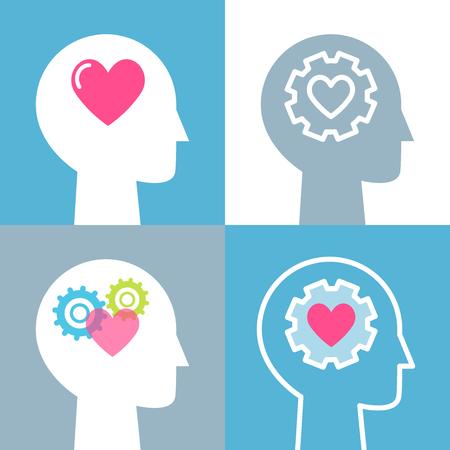 Emotional Intelligence, Feeling and Mental Health Concept Vector Illustrations Set.