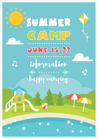 Beach Club or Camp for Kids. Summer and Beach Poster Vector Template. Illustration