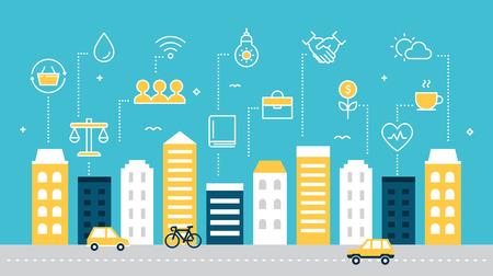 Smart Sustainable City Development Vector Illustration.