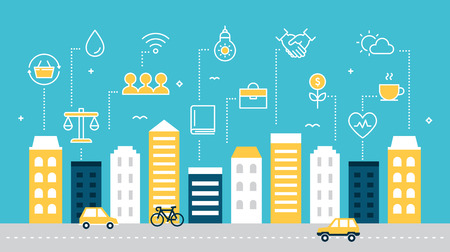 Smart Sustainable City Development Vector Illustration.