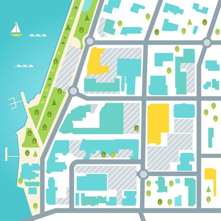 Abstracte kaart van kustplaatsgebied. Vector ontwerp illustratie. Vector Illustratie