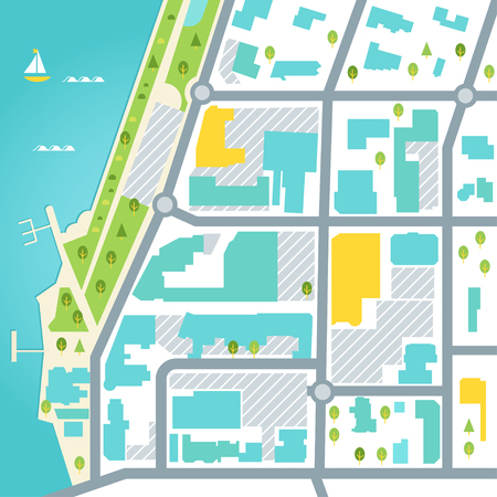 Abstract map of coastal town area. Vector design illustration.