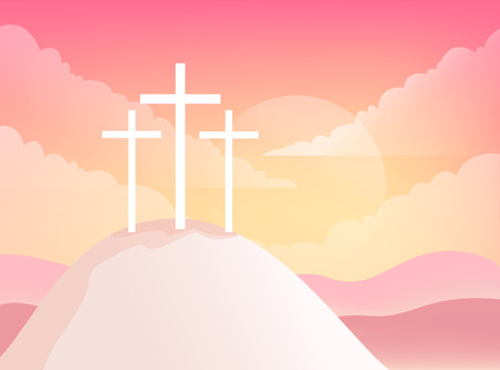Three Crosses on Golgotha Mountain. Christian Easter Vector Illustration