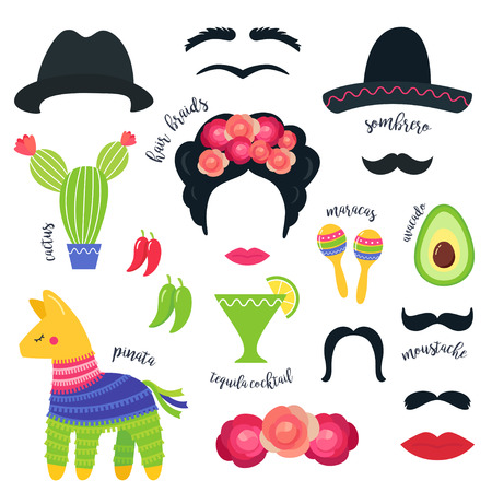 Mexican Fiesta Party Symbols and Photo Booth Props Vector Design